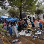 Vluchtelingen in kamp Moria op het eiland Lesbos, Griekenland