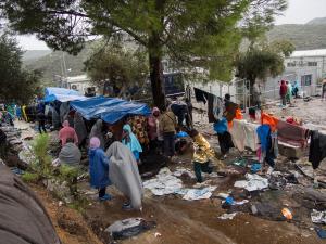 Vluchtelingen in kamp Moria op het eiland Lesbos, Griekenland ShowerPower